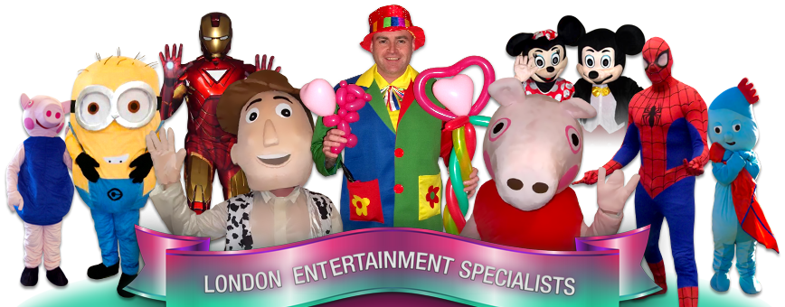 Montage of Adam's Amazing Party Mascots and performers including Ironman, Percy The Piglet, Spiderman and micky mouse