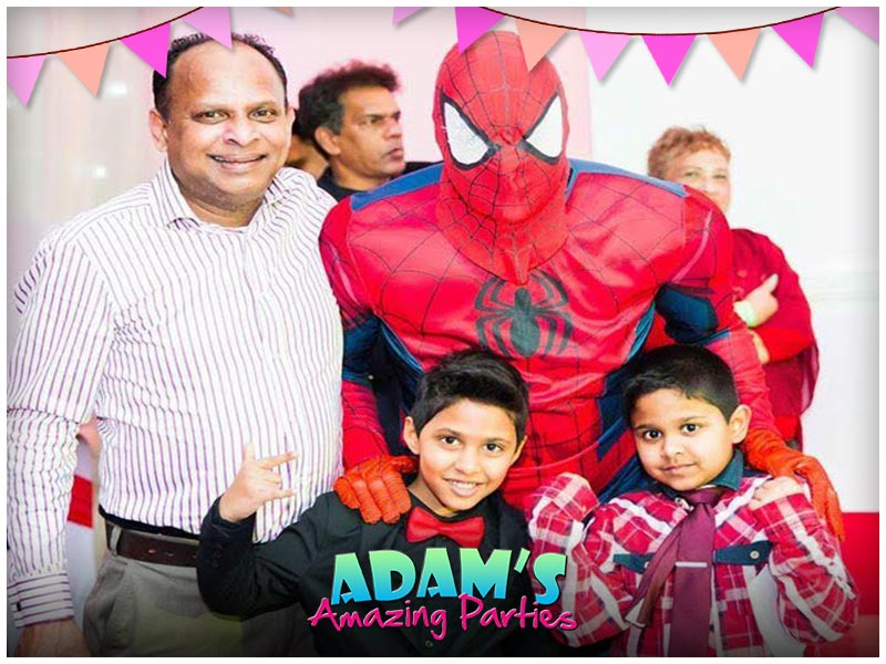 Spiderman in a family phot
